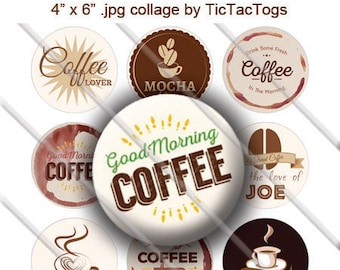 Coffee Jave Joe Latte Sayings Bottle Cap Images Digital Art Collage Set 1 Inch Circle Digi 4X6 - Instant Download - BC506