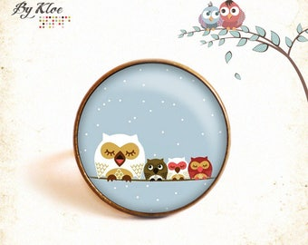 Ring Cabochon • owls Blue Bird • brown white nature glass