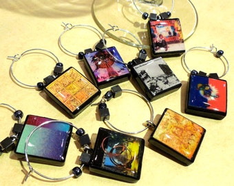 Dave Matthews Band Album Covers Scrabble Tile Wine Glass Charms