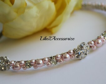 Pink Ivory Swarovski Pearl flower Girl Headband Bridal Tiara Headband Wedding Jewelry Bridal Head Piece Rhinestones Pearl Wedding Headband