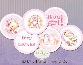 Baby Girl Shower Pregnacy Tea Download Print Birthday Party Circle Labels Stickers Gift Tags Digital Collage Sheet Images