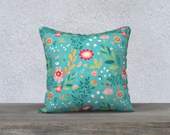Turquoise Floral Whimsy 18 x 18 Pillowcase