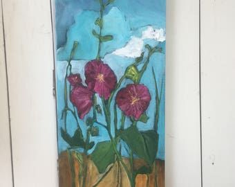 12x24 inch Floral Original Painting on canvas by Alberta Artist Angela Stadlwieser - 'Lost in summer day dreams' (Hollyhock flowers)