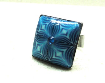 Jewelry ring Adjustable square ring handmade of polymer clay blue kaleidoscope by Artefyk