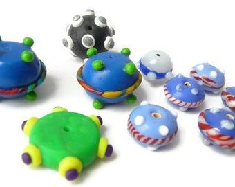 Polymer Clay Beads, Lampwork Glass Beads, Polymer Bead Black, Polymer Beads Round, Destash Beads, Orphan Beads, Polymer Beads Blue