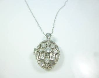 Locket Necklace, Sterling Silver cz Diamond Locket Pendant, Oval Locket