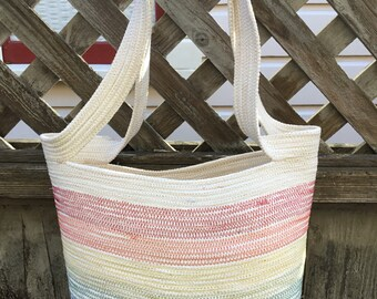 Rainbow Striped Tote with Handles #1