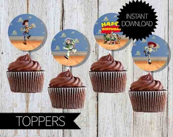 Toy Story Birthday Party Printables Cupcake TOPPERS- Instant Download | Disney Toy Story| Andy's Room