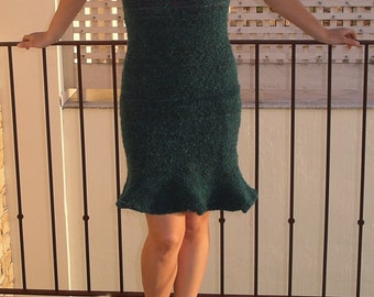 Sleeveless  dress in turquoise wool