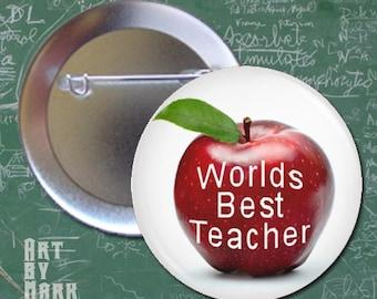Worlds best Teacher-apple-- Pinback Button