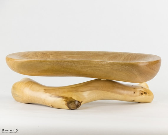 Beautiful and Unique Wood Display Elevated Dish   Bentworx™