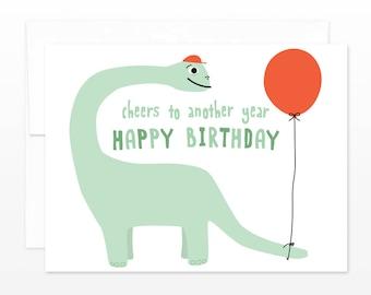 Cute Dinosaur Birthday Card - Cheers to Another Year Happy Birthday - Card for Boy or Girl - Dinosaur Lover Birthday Card