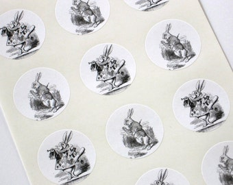 Alice In Wonderland Rabbit Stickers One Inch Round Seals