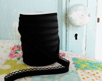 Black Crochet Edge Double Fold Bias Tape (No. 42)