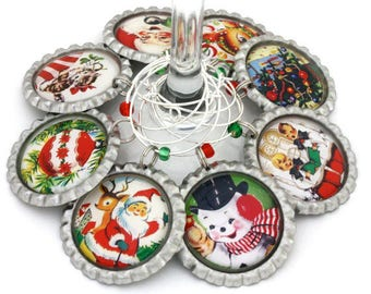Christmas party favors, retro Christmas wine charms, vintage holiday hostess gift, drink tags.