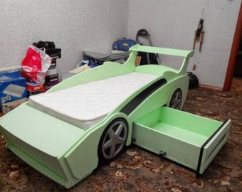 "Children's wooden bed ""Sports car"" Vector plan for laser cutting CNC"