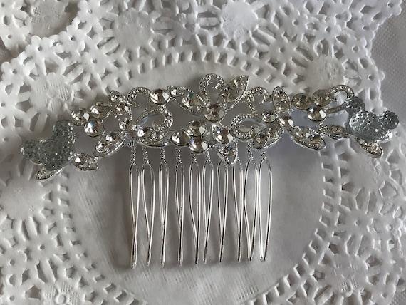Hidden Mickey Wedding Comb-Crystal Rhinestones-Silver Tone Setting-Disney Inspired Accessory