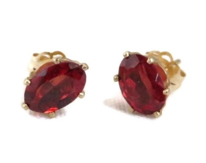 14K Gold Garnet Stud Earrings - Yellow Gold Pierced Earrings, Oval Garnet Studs, 0.86ctw, Solid Gold Post Earrings