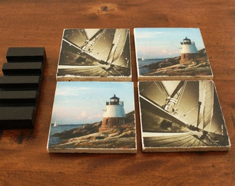Nautical Coasters  -Set of 4 with Display Stand
