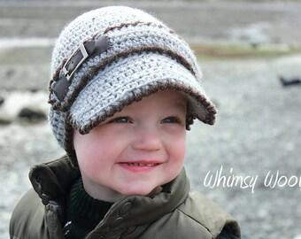 Crochet Hat Pattern: Crochet Baseball Cap, Crochet Visor, Newsboy, Toddler, 'Linden Newsboy'