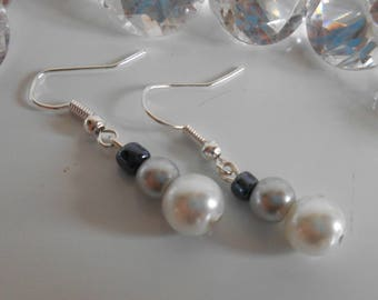 Wedding gray and white agate earrings