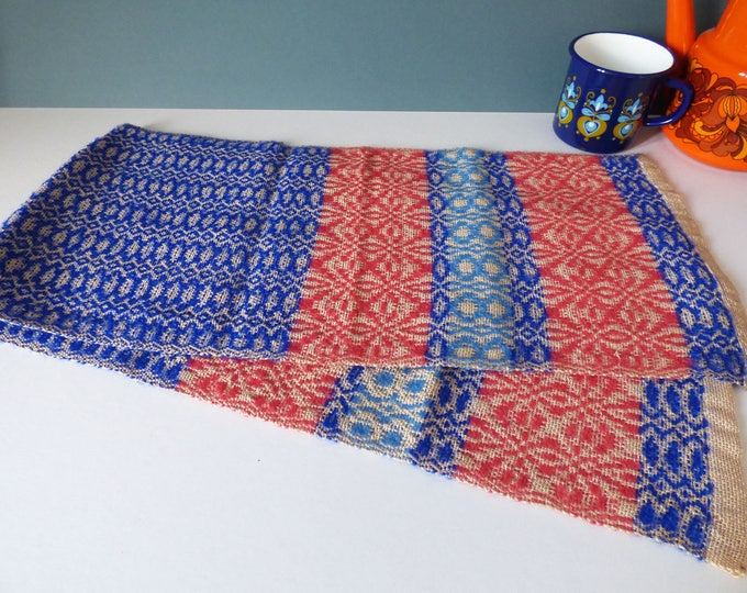 Hand woven table runner Vintage 1960's Hand Loom Weavers