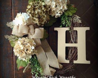 Floral wreath, All season wreath, Country wreath, Outdoor wreath, monogram wreath, cream and olive wreath, farmhouse wreath, wreath for door