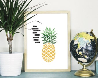 PRINTABLE Watercolor Pineapple : INSTANT DOWNLOAD up to 16x20
