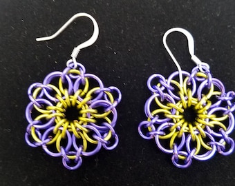 Purple and Gold Chainmaille Earrings