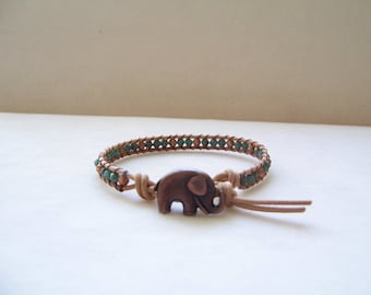 Dainty Copper Elephant Single Wrap Beaded Leather Bracelet, Elephant Bracelet, Elephant Jewelry, Leather Jewelry, Beaded Leather Bracelet