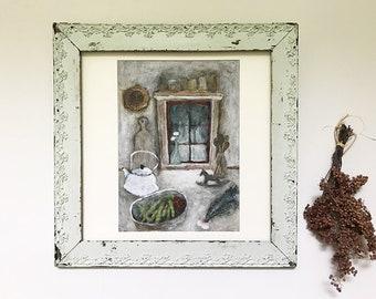 "Acrylic Original Painting    ""Dining""  On paper board   by Tetsuhiro Wakabayashi"