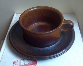 Arabia of Finland - Ruska Pattern - Single Saucer Without Cup - 1962 - Ulla Procope - Midcentury Modern Pottery - Scandinavan Pottery