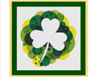 Cross stitch pattern, Shamrock, Clover, 4 leaf clover, Luck, St Patricks day, St Patrick, Saint Patricks day, Saint Patrick, St. Paddy's day