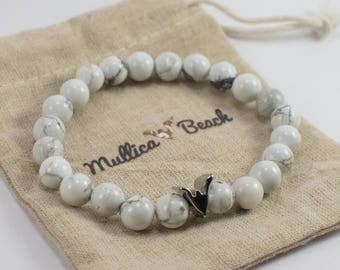 Fashionable White Gemstone Beaded Bracelet - Personalized Mullica Beach Logo - Portion of Proceeds Donated to Charity - Perfect Gift