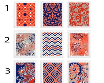 Wall Art Digital Print Set Modern Home Decor - happy colors Coral- Navy- red and greys- SET of  6:)