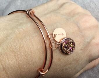 Rose gold Bangle initial bracelet, custom stamped Druzy bangle Bracelet, Rose gold bangle bracelet, personalized jewelry, initial jewelry