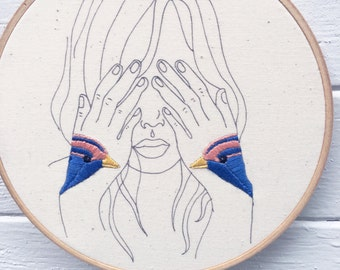 Hand Embroidery Kit, Embroidery Kit,  Bird  Tattoo Embroidery Kit