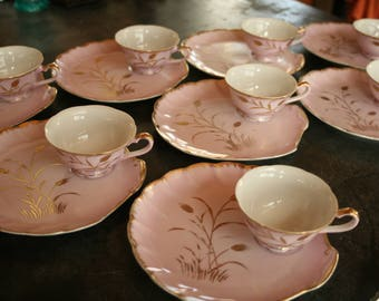 Vintage 1950's, Napco China, Pink and Gold, Snack Set, Wheat Pattern, Tea, Bridal Shower, Napco, Mid Century China, Wedding, Spring Decor