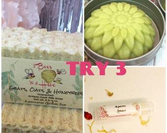 Try 3 - Handcrafted Soap, Soap Gift Pack, Vegan Soap, Organic Soap, Homemade Soap, Goat Milk Soap, Artisan Soap, Vegan, Soap, Gift for Her
