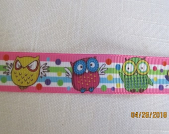 "Owls 7/8"" Polyester Ribbon BTY"