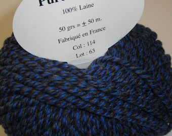 5 skeins of Pure wool soft / Made in France / Tweed blue gray
