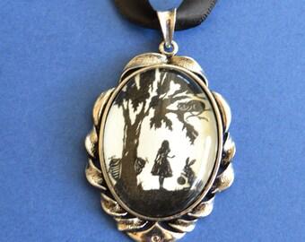 ALICE IN WONDERLAND Choker Necklace - pendant on ribbon - Silhouette Jewelry
