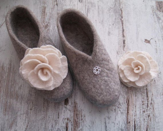 Woolen grey with women slippers slippers flowers Felted white for Ya1aqw