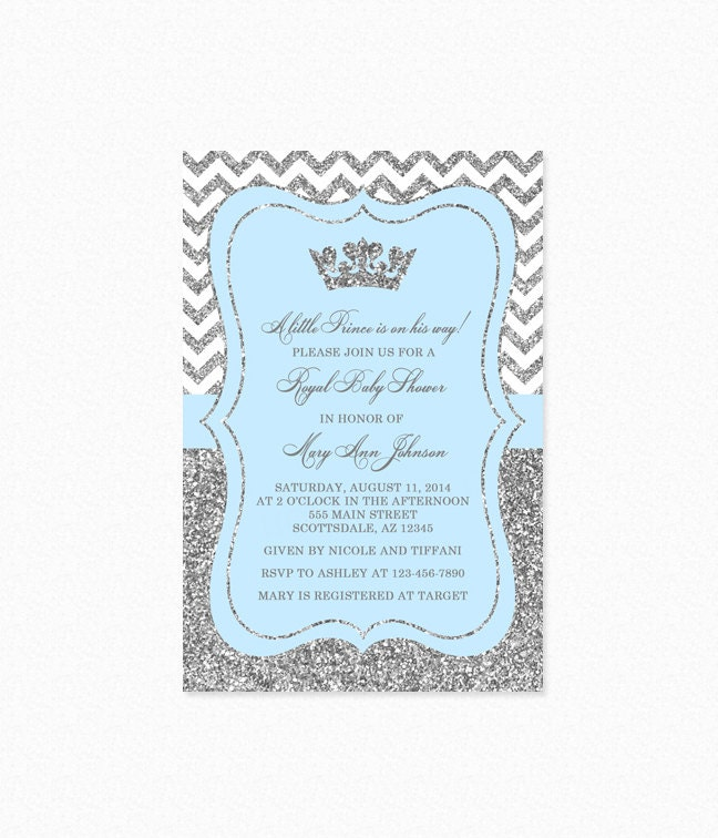 Prince Baby Shower Invitation Sky Blue and Silver Baby
