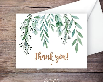 Greenery Thank You Card, Botanical, Garden Wedding, Printable Instant Download Greeting Card, Instant Download, Wedding Card - Delilah