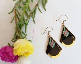Vintage Enamel Drop Dangle Earrings 80's / 90's Black - Cloisonne