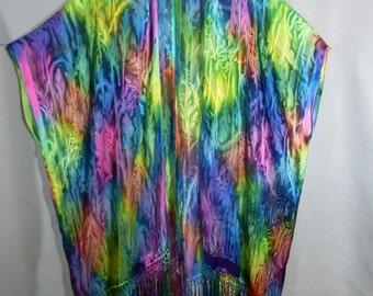"""Fringed Kimono """"Light Rainbow"""", Hand Painted Silk/Rayon Ruana, Rainbow Cape"""