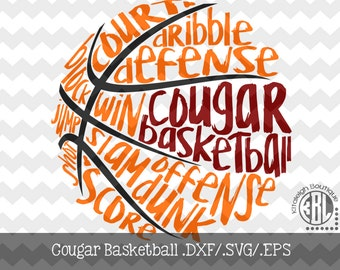 Messy Cougar Basketball design INSTANT DOWNLOAD in dxf/svg/eps for use with programs such as Silhouette Studio and Cricut Design Space