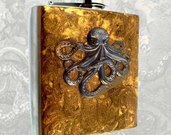 Steampunk Flask Brass Ox Octopus Inlaid in Hand Painted Enamel Golden Bronze Neo Victorian Kraken Custom Colors and Personalized Options