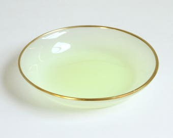 Murano Opaline Glass Bowl Gold Rim - Vintage Cenedese Green Glass Gold Dish